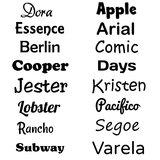 Mogelijkheden lettertypes bedrukking tas