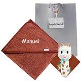 Sophie de Giraf knijprammelaar met badcape copper met naam