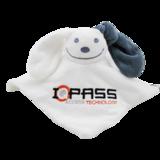 knuffeldoekje wit/grijs met logoborduring IQ-Pass