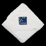badcape wit met logoborduring Cresa