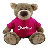beer bella met fuchsia shirtje met naambedrukking