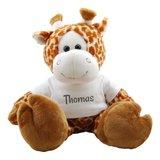 Knuffel Giraf met naam op shirtje
