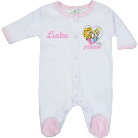 Babypakje Disney Princess wit met naam maat 3 maand