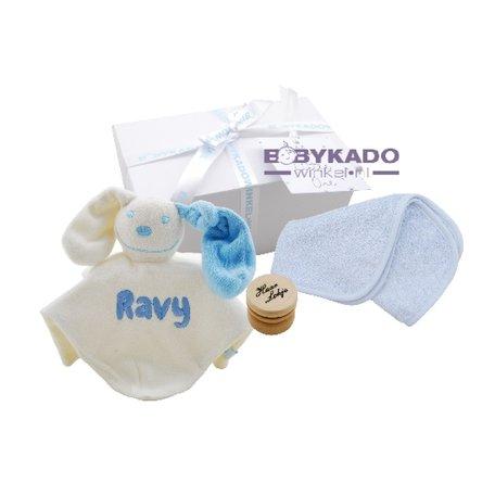 Babygiftbox knuffeldoekje babyblauw met naam