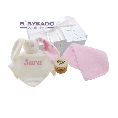 Babygiftbox knuffeldoekje babyroze met naam
