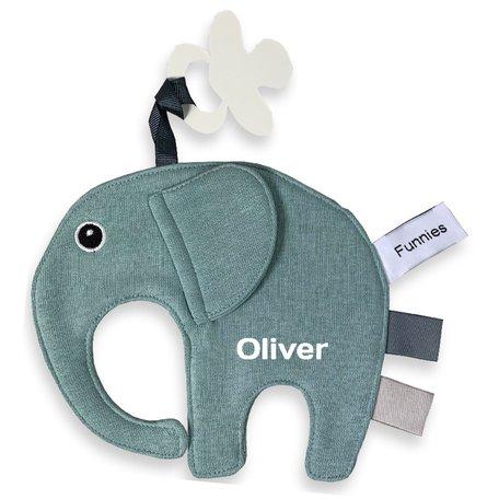Speendoekje Funnies olifant ollie stonegreen met naam