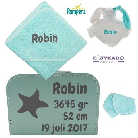 Geboortekoffertje gevuld mint met naam