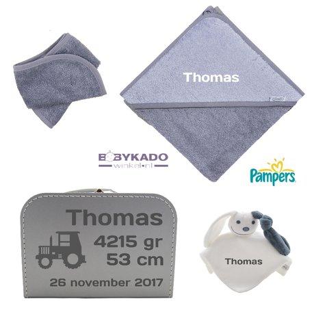 Geboortekoffertje gevuld grijs met naam