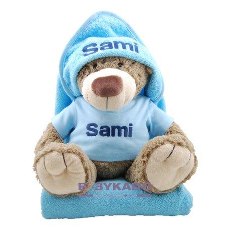 Knuffel bella met badcape babyblauw en naam
