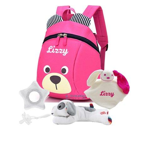 Babypakketje rugtasje roze met naam