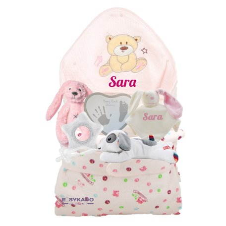 Babypakket omslagdoek beertje blush met naam
