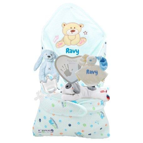 Babypakket omslagdoek beertje pastelblauw met naam