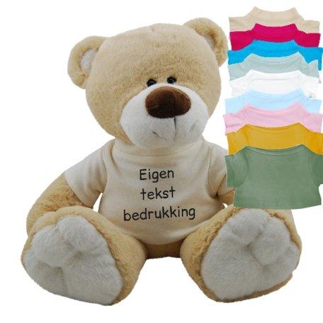 Knuffel beer 45 cm shirtje met eigen tekst bedrukt