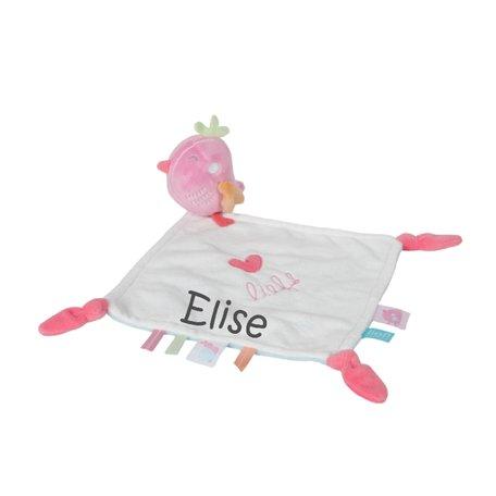 Knuffeldoekje LIEF! Love Bird roze met naam