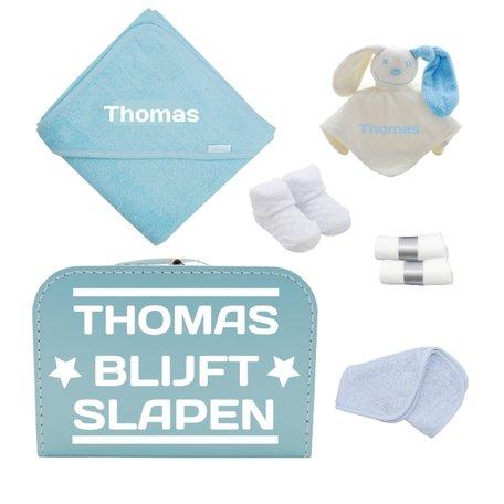 Logeerkoffertje babyblauw gevuld met naam