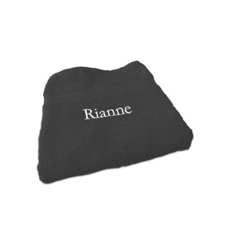 Handdoek antraciet met naam