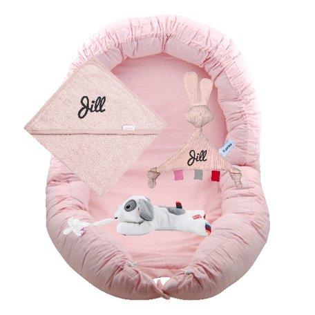 Babypakket Babynest roze met naam