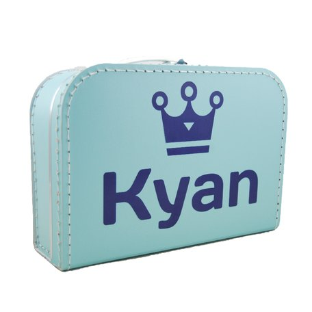 Koffertje babyblauw met naam