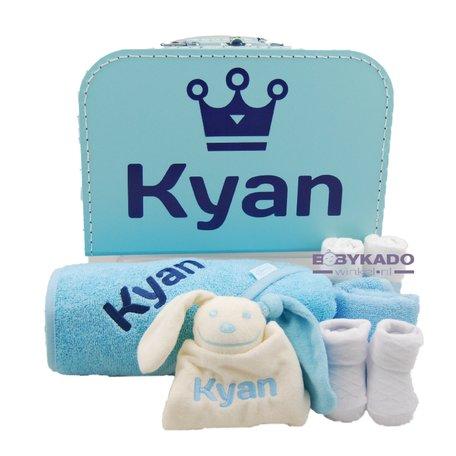 Babykoffertje babyblauw met naam