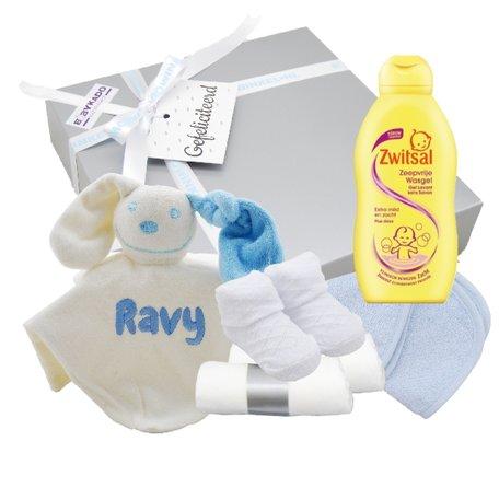 Babycadeaudoosje met knuffeldoekje blauw met naam