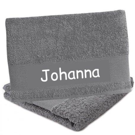 Handdoek grijs met naam