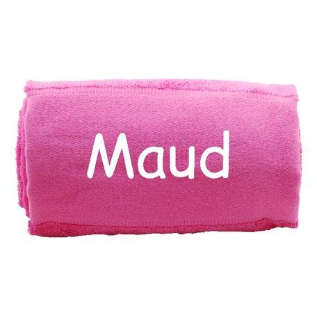 Handdoek coral pink met naam