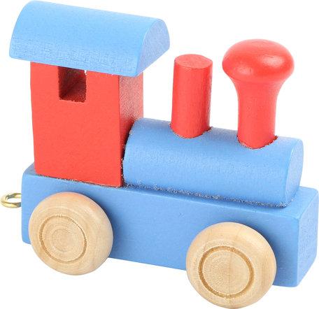Houten naamtreintje blauw rood locomotiefje