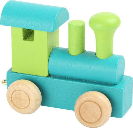 Houten naamtreintje groen petrol locomotiefje