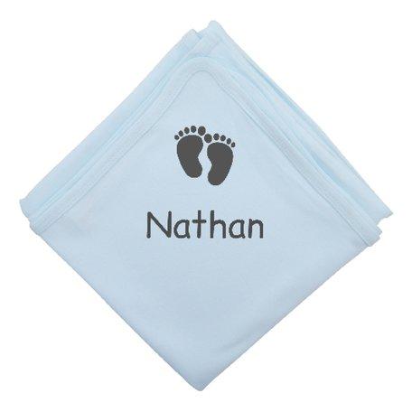 Babyomslagdoek 75x100 babyblauw met naam