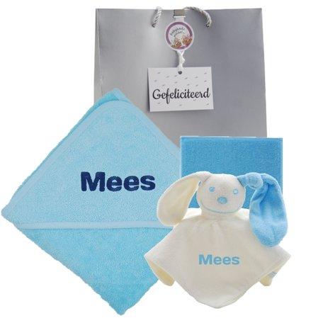 Baby cadeau babyblauw met naam