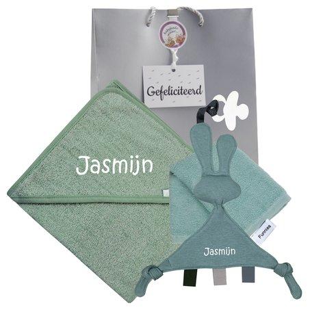 Baby cadeau stonegreen met naam