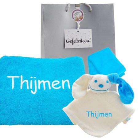 Handdoek turquoise 50 x 100 met naam
