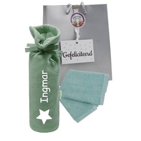 Babypakketje kruikenzak stonegreen met naam