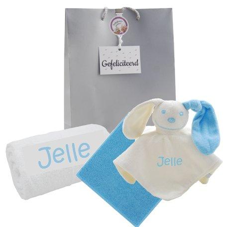 Handdoek wit 50 x 100 babyblauw met naam