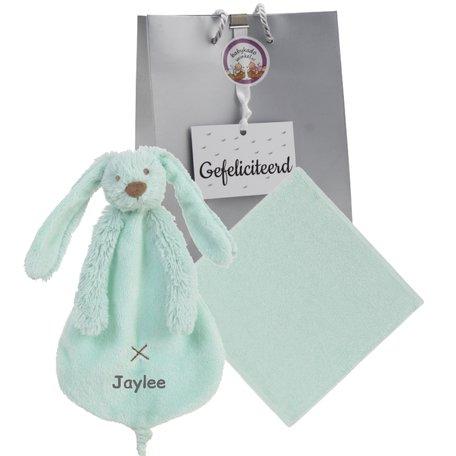 Babypakketje rabbit richie mint met naam