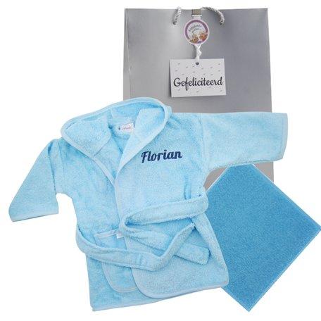 Badjasje babyblauw met naam