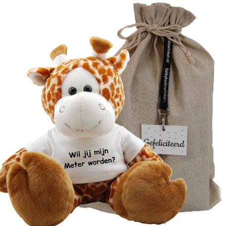 Knuffel Giraf 45 cm Wil jij mijn meter worden