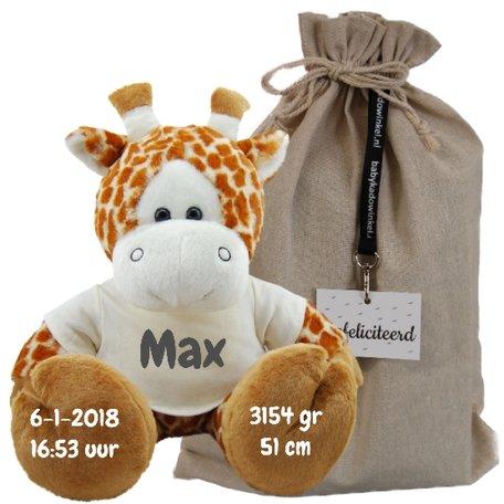 Knuffel giraf met geboortegegevens