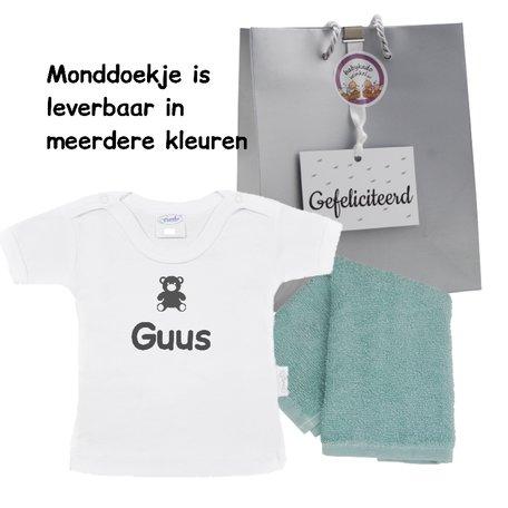 T-shirtje Funnies wit met naam maat 62/68