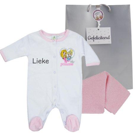 Babypakje Disney Princess wit met naam maat newborn
