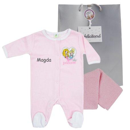 Babypakje Disney Princess roze met naam maat newborn