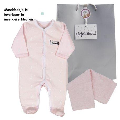 Babypakje Sophie de Giraf roze met naam