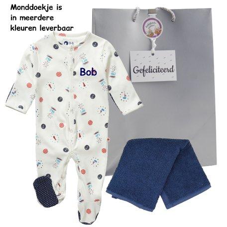 Babypakje nautische print met naam