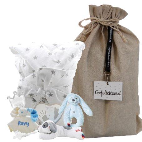 Babypakket omslagdoek babyblauw met naam