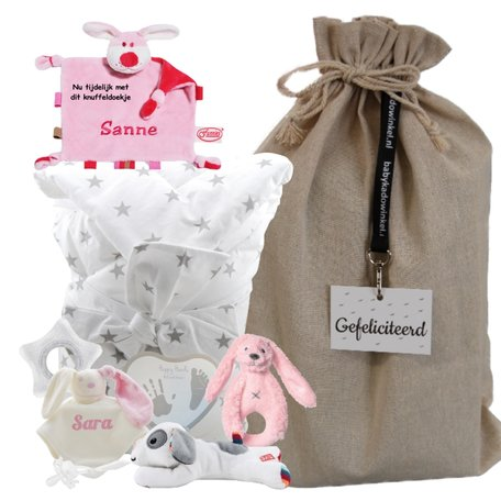 Babypakket omslagdoek babyroze met naam