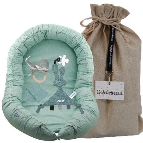 Babynest Jollein mini dots stonegreen