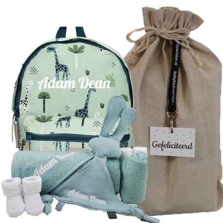 Babypakket rugtas Kidzroom mini green met naam