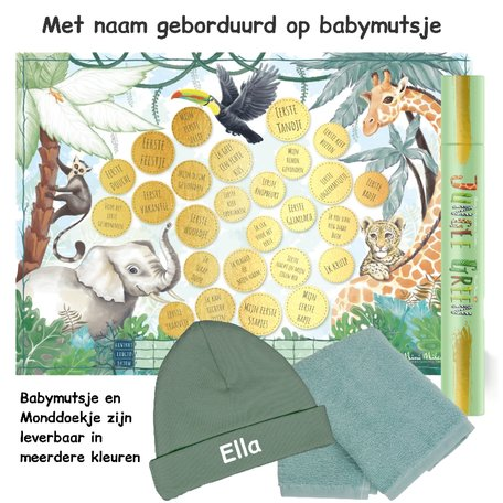 Baby cadeau Milestone krasposter Jungle Green met naam