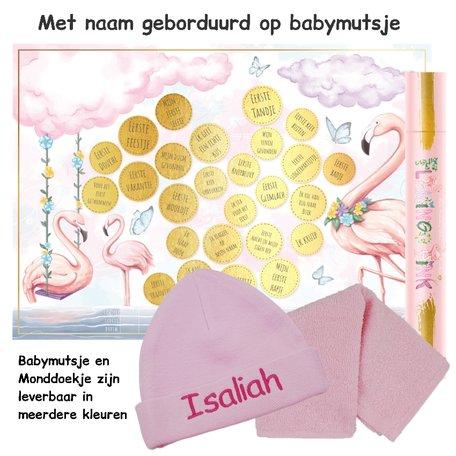 Baby cadeau Milestone krasposter Flamingo Pink met naam