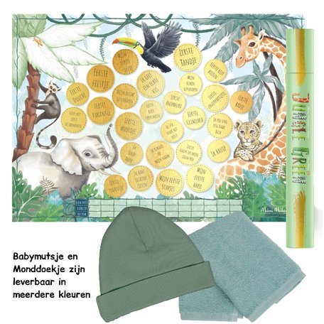 Baby cadeau Milestone krasposter Jungle Green
